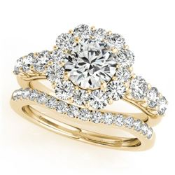 2.51 CTW Certified VS/SI Diamond 2Pc Wedding Set Solitaire Halo 14K Yellow Gold - REF-450N8Y - 30725