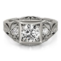 0.6 CTW Certified VS/SI Diamond Solitaire Antique Ring 18K White Gold - REF-132N2Y - 27237