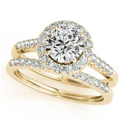 0.96 CTW Certified VS/SI Diamond 2Pc Wedding Set Solitaire Halo 14K Yellow Gold - REF-140X2T - 30785
