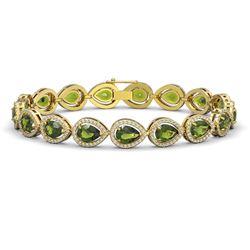 16.93 CTW Tourmaline & Diamond Halo Bracelet 10K Yellow Gold - REF-365F8N - 41113