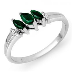 0.29 CTW Emerald & Diamond Ring 14K White Gold - REF-21Y8K - 13518