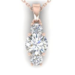 1.5 CTW Certified VS/SI Diamond Art Deco Stud Necklace 14K Rose Gold - REF-378N4Y - 30310