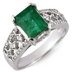 2.75 CTW Emerald & Diamond Ring 14K White Gold - REF-78A2X - 11181