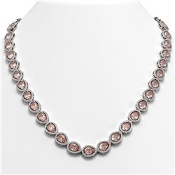35.13 CTW Morganite & Diamond Halo Necklace 10K White Gold - REF-827T8M - 41054