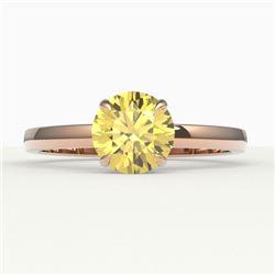 2 CTW Citrine Designer Inspired Solitaire Engagement Ring 14K Rose Gold - REF-25N6Y - 22217