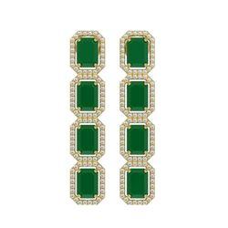 12.33 CTW Emerald & Diamond Halo Earrings 10K Yellow Gold - REF-178X2T - 41428