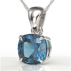 1.50 CTW Cushion Cut London Blue Topaz Designer Necklace 18K White Gold - REF-25K5W - 21949