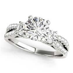 1.5 CTW Certified VS/SI Diamond 3 Stone Ring 18K White Gold - REF-414N5Y - 28026