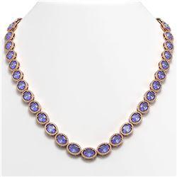 48.65 CTW Tanzanite & Diamond Halo Necklace 10K Rose Gold - REF-797A3X - 40563