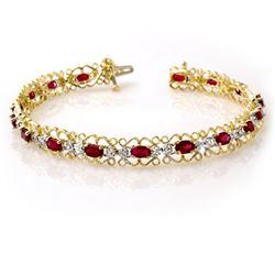 4.22 CTW Ruby & Diamond Bracelet 10K Yellow Gold - REF-69T3M - 13620
