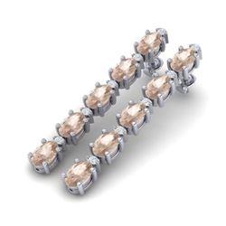 9.36 CTW Morganite & VS/SI Certified Diamond Tennis Earrings 10K White Gold - REF-121M3H - 29399
