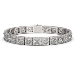 18.24 CTW Princess Diamond Designer Bracelet 18K White Gold - REF-3369F8N - 42725