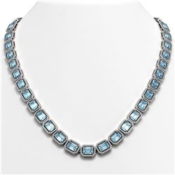 54.79 CTW Aquamarine & Diamond Halo Necklace 10K White Gold - REF-896X9T - 41354