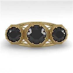 2 CTW Past Present Future Black Diamond Ring 18K Yellow Gold - REF-90F4N - 36076