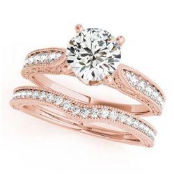 0.95 CTW Certified VS/SI Diamond Solitaire 2Pc Wedding Set Antique 14K Rose Gold - REF-144X2T - 3150