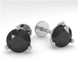 2.0 CTW Black Certified Diamond Stud Earrings Martini 18K White Gold - REF-68T2M - 32220