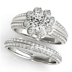 2.41 CTW Certified VS/SI Diamond 2Pc Wedding Set Solitaire Halo 14K White Gold - REF-590T8M - 31289