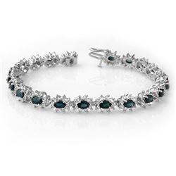 12.0 CTW Blue Sapphire & Diamond Bracelet 18K White Gold - REF-414X2T - 14444