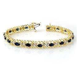 7.02 CTW Blue Sapphire & Diamond Bracelet 10K Yellow Gold - REF-69K3W - 14527