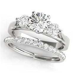1.67 CTW Certified VS/SI Diamond 3 Stone 2Pc Wedding Set 14K White Gold - REF-255K6W - 32030