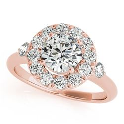1 CTW Certified VS/SI Diamond Solitaire Halo Ring 18K Rose Gold - REF-137M3H - 26306