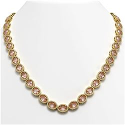 45.98 CTW Morganite & Diamond Halo Necklace 10K Yellow Gold - REF-850H9A - 40567