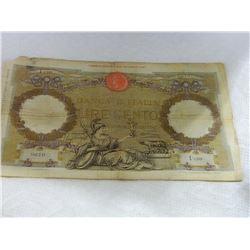 PAPER NOTE - BANCO D'ITALIA LIRE CENTO - 30 LUGIO 1896