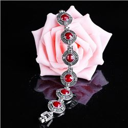 BRACELET - VINTAGE STYLE CRAFTING OF CHECKERBOARD RED STONE IN GERMAN STERLING SILVER SETTING - RETA