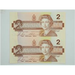 Uncut Sheet Bank of CANADA Two Dollar Notes. 1986