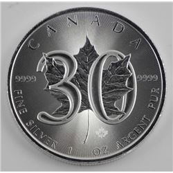 .9999 Fine Silver 5.00 Maple Leaf Coin - 30th Anni