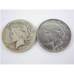Lot (2) Silver USA Peace Dollars 1922 1924.