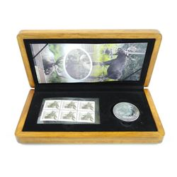 Estate 2012 9.9 Fine Silver Maple Leaf $5.00 w/6 3 Cent Stamps Wood Case.