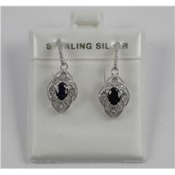 925 Sterling Silver Earring Oval Blue Sapphires
