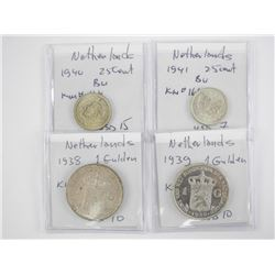 Lot (4) Silver Coins - Netherlands: 1938, 1939, 19