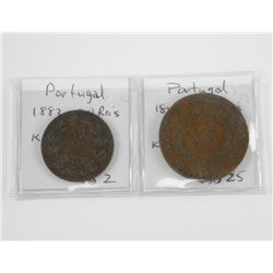 Lot (2) Coins Portugal 1848 20 Reis, 1882 20 Reis