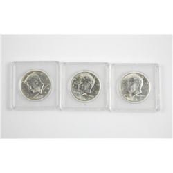 3x 1964 Kennedy Half Dollar 1st Year Minted, 90% S