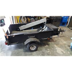 BLACK UTILITY TRAILER WITH RAMP AND TIE DOWNS, NO ISSUES, COMPLETE WITH REGISTRATION