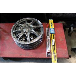 """4 16"""" HUBCAPS AND BRAND NEW WIPERS 18"""" + 28"""""""