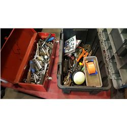 RED TOOL BOX WITH CONTENTS AND BLUE TOOLBOX WITH CONTENTS