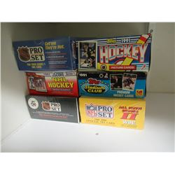 1 Unopened NFL Box Pro Set, 5 Unopened Boxes 90's Hockey Cards
