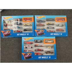 3 Hot Wheels 10 Gift Pack