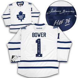 41eaf722596 Johnny Bower Toronto Maple Leafs Autographed White Reebok Premier Hockey  Jersey (AJ SPORTS)