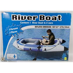 """NEW RIVERBOAT WITH 2 OARS, 106""""X51"""" - 3 PERSON."""