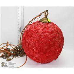 RETRO RED GLOBE SWAG LAMP