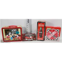 BOX OF COCA COLA AND MICKEY LUNCH BOX FIRE CHIEF