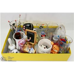 BOX OF COLLECTIBLE MUGS AND GLASSES , SALT &