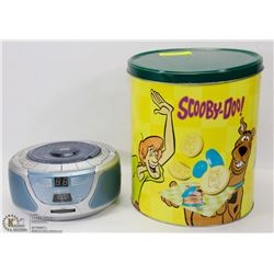 SCOOBY DOO CONTAINER WITH RADIO AND MORE INSIDE