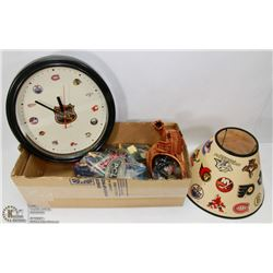 BOX WITH 1 NHL LAMP SHADE, NHL CLOCK, BELT BUCKLE