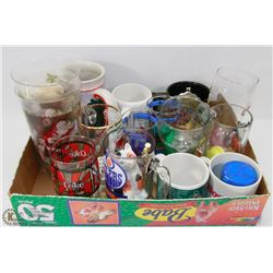 BOX OF MUGS AND GLASSES INCL HARLEY DAVIDSON,