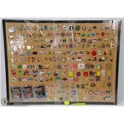 CORK BOARD WITH 200 PINS INCL WAR, MEMORIAL,